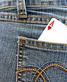 Ace of heart in the back pocket. — Stock Photo