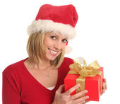 Christmas lady and a gift — Stock Photo