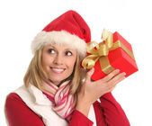 Santa lady and the gift — Stockfoto