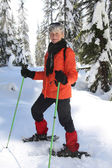 Snowshoeing retirement — Stock Photo