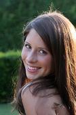 Teenage girl, backlit — Stock Photo