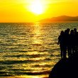 Silhouette of five teens standing on a rocky beach at sunset. — Foto de Stock