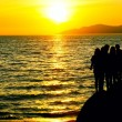 Silhouette of five teens standing on a rocky beach at sunset. — Lizenzfreies Foto
