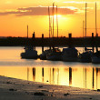 Sailing boats at sunset — Stock Photo