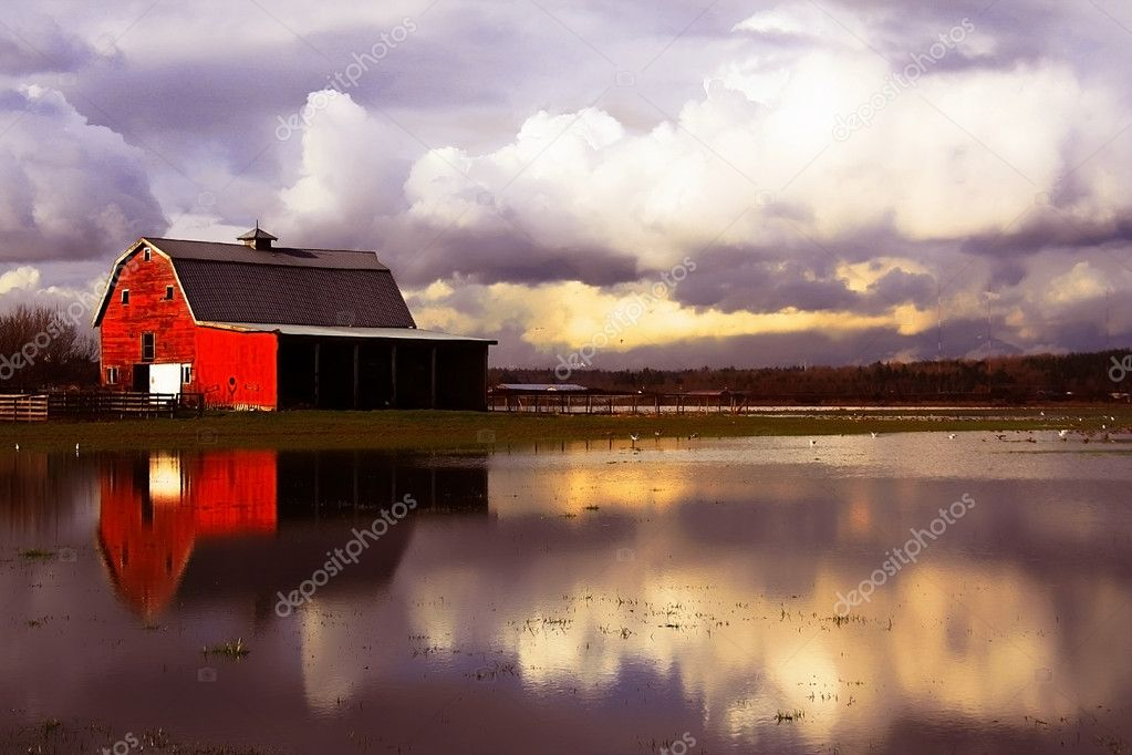Flooded red barn — Stock Photo #11458451