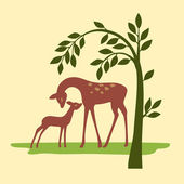 Deer on nature — Stock Vector