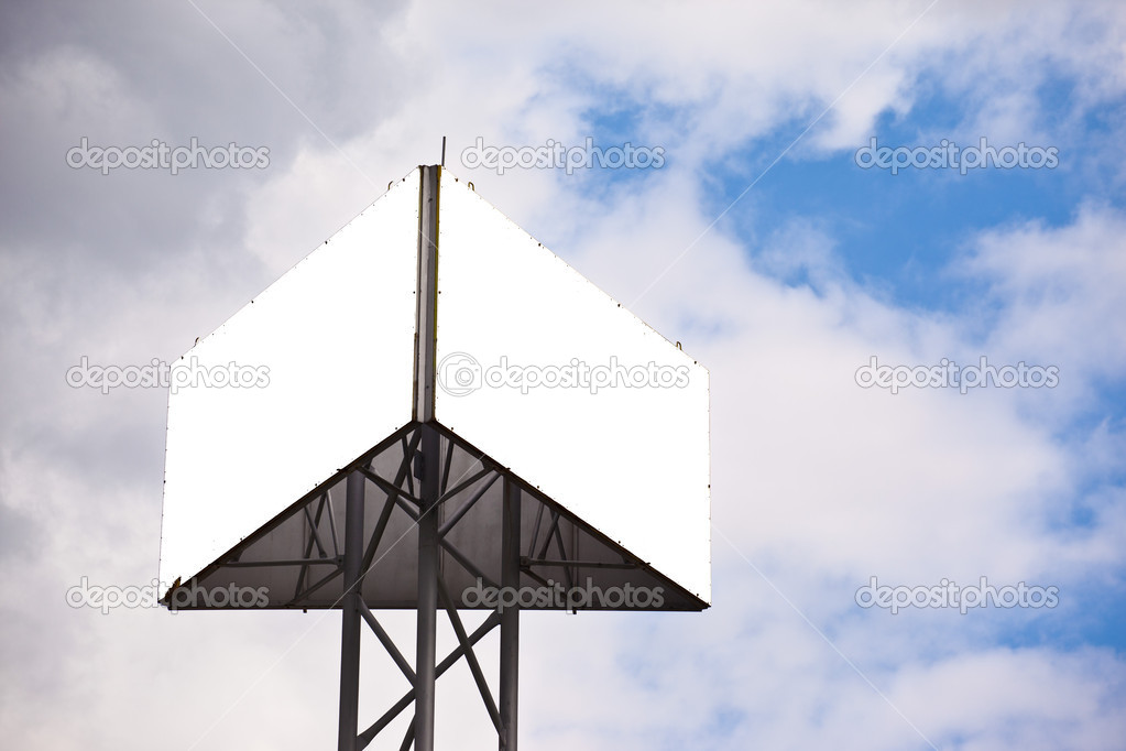Blank sides of a triangular billboard on  blue sky with clouds — Stock Photo #11163074