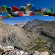 Buhhist flag in ladakh - Stock Photo