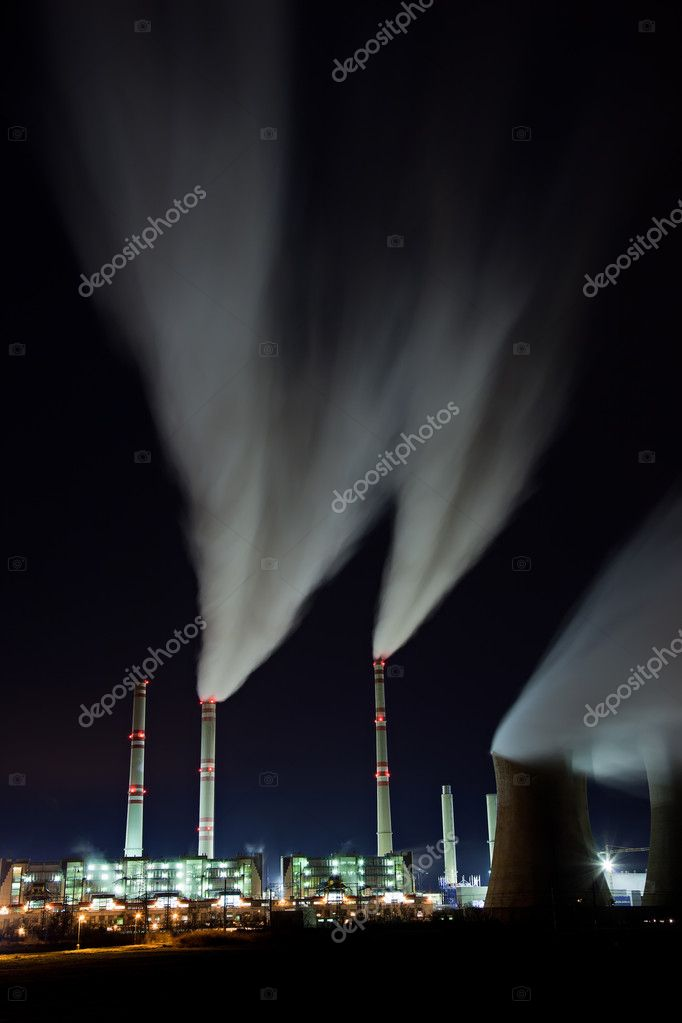 Coal powerplant air emission at the night — Stock Photo #11525235