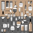 Pattern of the glasses and bottles of wine — Stock Vector