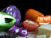 Peppers and red cabbage — Stock Photo