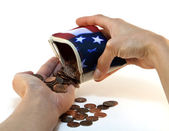 American Flag Wallet with Coins and Hands — Stock Photo