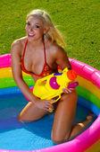 Beautiful fun bikini girl — Stock Photo