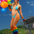 Sexy bikini girl with colorful balloons - Стоковая фотография