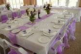 Decorated Wedding table &chairs — Stock Photo