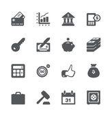Finans- och affärsvärlden ikonuppsättning — Stockvektor