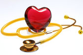 Stethoscope with glass heart — Stock Photo