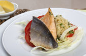 Arctic Char on Couscous and Fennel — Stock Photo