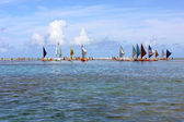 Jangada - a Brazilian Sail in Porto de Galinhas Beach - BRAZIL — Stock Photo