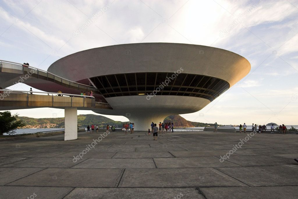 The Niterói Contemporary Art Museumis situated in the city of Rio de Janeiro. is set on a cliffside, at the bottom of which is a beach. In the film Oscar Niemeyer, an architect committed to his century — Stock Photo #11089832