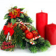Christmas decoration with two red candles on white background - Stock Photo