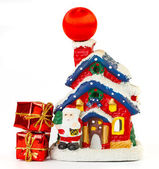 Christmas decoration with two boxes on white background — Stock Photo