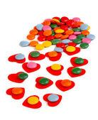 Vicino di caramelle vetri colorati a cuori — Foto Stock