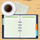 A coffee and a notebook on the desk — Stock Vector