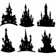 Stock Vector: Silhouettes of castles