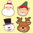 Stock Vector: Cute christmas heads
