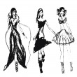 Royalty-Free Stock Immagine Vettoriale: Hand drawn fashion girls
