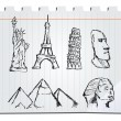 Hand drawn landmarks — Stockvectorbeeld
