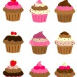 Cup cake set - Stock Vector
