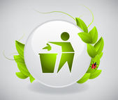 Recycling Icon with leaves — Stock Vector