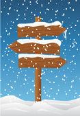 Wooden board on snow — 图库矢量图片