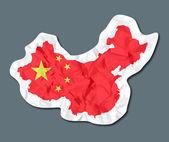 中国の国旗の紙のタグ — ストックベクタ
