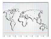 Elle çizilmiş dünya haritası — Stok Vektör