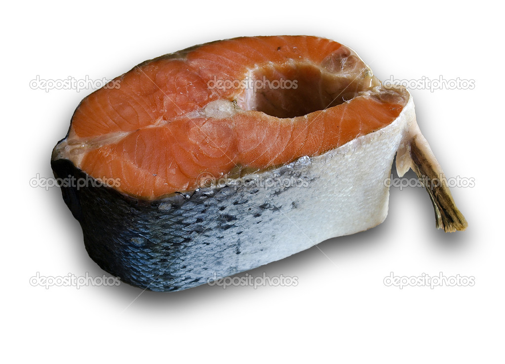 Raw salmon steak with a fin and squama isolated on a light background — Stock Photo #11084773