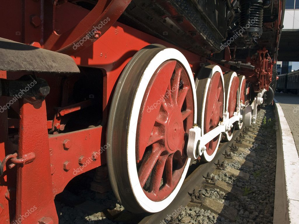Locomotive mid-twentieth century. Wheels up close. — Stock Photo #11878107