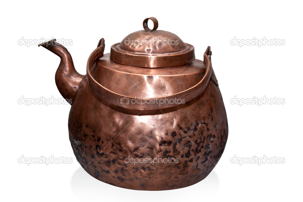 Copper kettle isolated on white with clipping path  Stock Photo #11094853