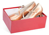 Lady's shoes in the red box — Stock Photo