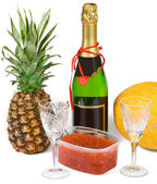 Festive set with champagne and caviar — Stock Photo