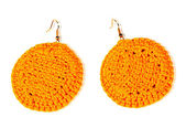 Ear crochet bright yellow. handwork — Stock Photo