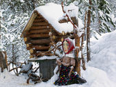Decorative cabin in the woods. Baba Yaga fairy tale character — Stock Photo