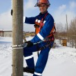 Stock Photo: Electrician on a pole in a good mood