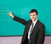 Teacher giving a lecture with a smile — Stock Photo