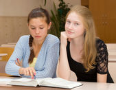 Female students are engaged in the classroom — Stock Photo