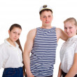 Two girls and a sailor — Stock Photo