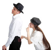 A thief steals a purse from an inattentive gentleman — Stock Photo