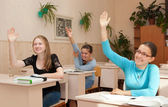 Schoolgirl in class raised their hands — Stockfoto